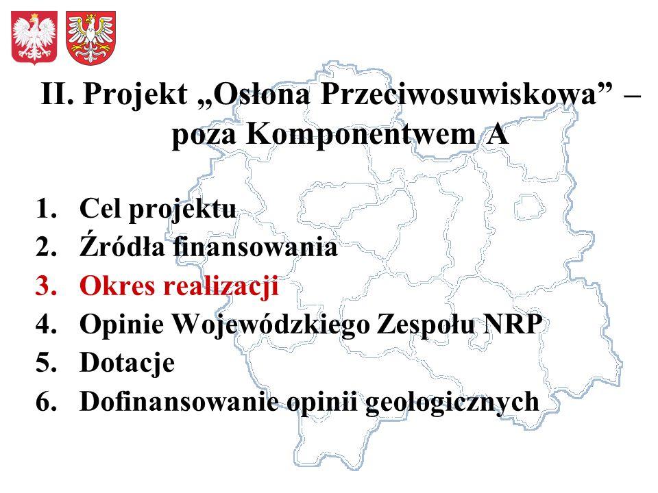 II. Projekt Osłona Przeciwosuwiskowa – poza Komponentwem A 1.Cel projektu 2.Źródła finansowania 3.Okres realizacji 4.Opinie Wojewódzkiego Zespołu NRP