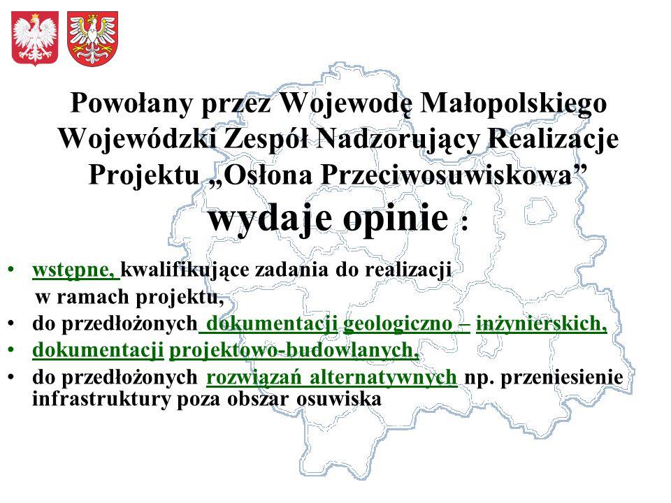 Powołany przez Wojewodę Małopolskiego Wojewódzki Zespół Nadzorujący Realizacje Projektu Osłona Przeciwosuwiskowa wydaje opinie : wstępne, kwalifikując
