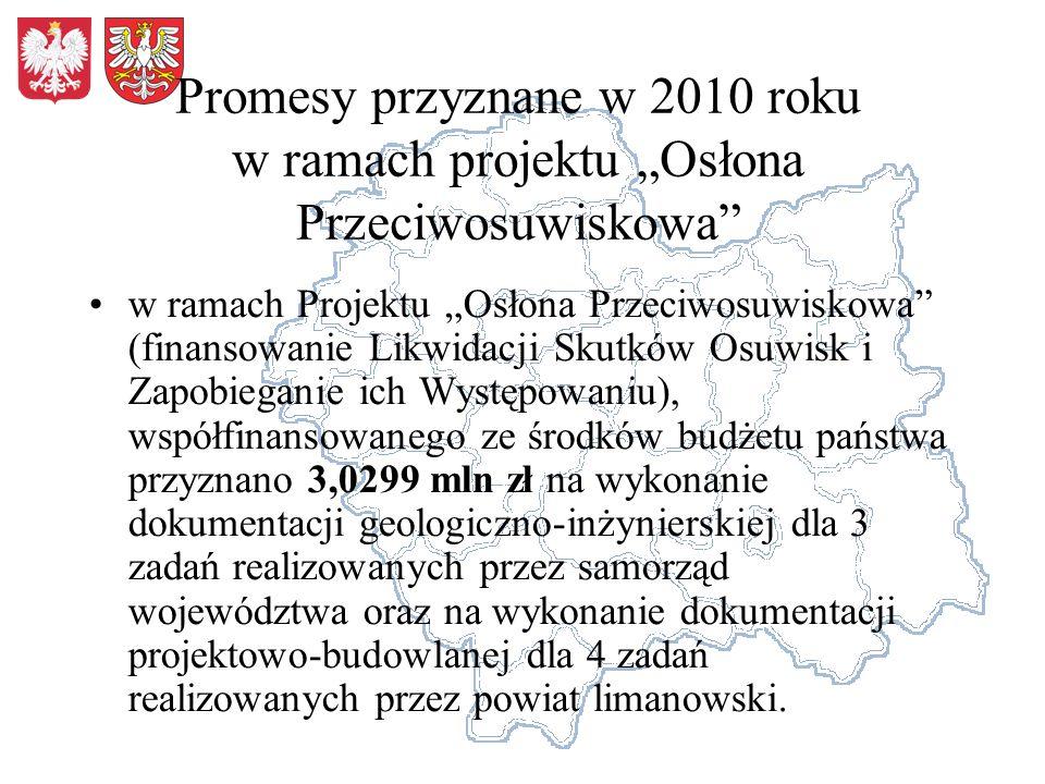 Promesy przyznane w 2010 roku w ramach projektu Osłona Przeciwosuwiskowa w ramach Projektu Osłona Przeciwosuwiskowa (finansowanie Likwidacji Skutków O