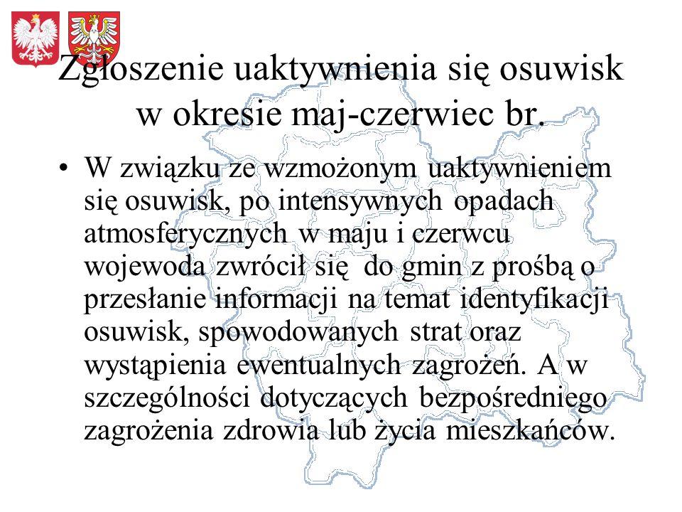 Zgłoszenie uaktywnienia się osuwisk w okresie maj-czerwiec br. W związku ze wzmożonym uaktywnieniem się osuwisk, po intensywnych opadach atmosferyczny