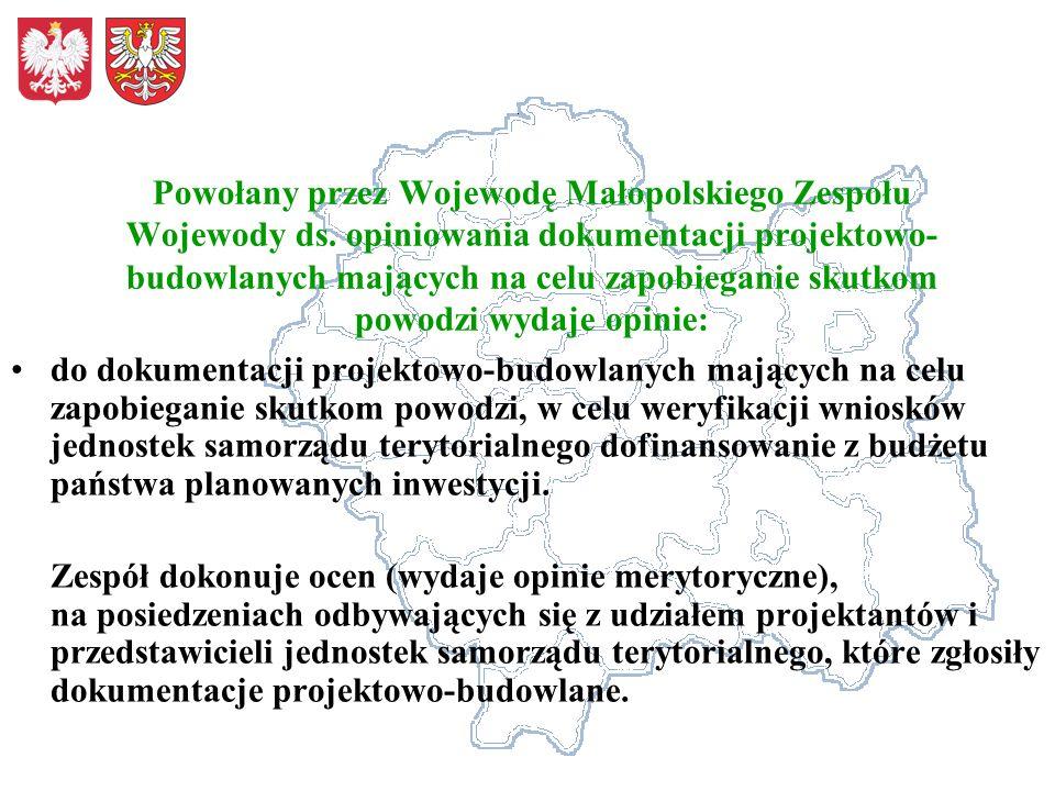 Powołany przez Wojewodę Małopolskiego Zespołu Wojewody ds. opiniowania dokumentacji projektowo- budowlanych mających na celu zapobieganie skutkom powo