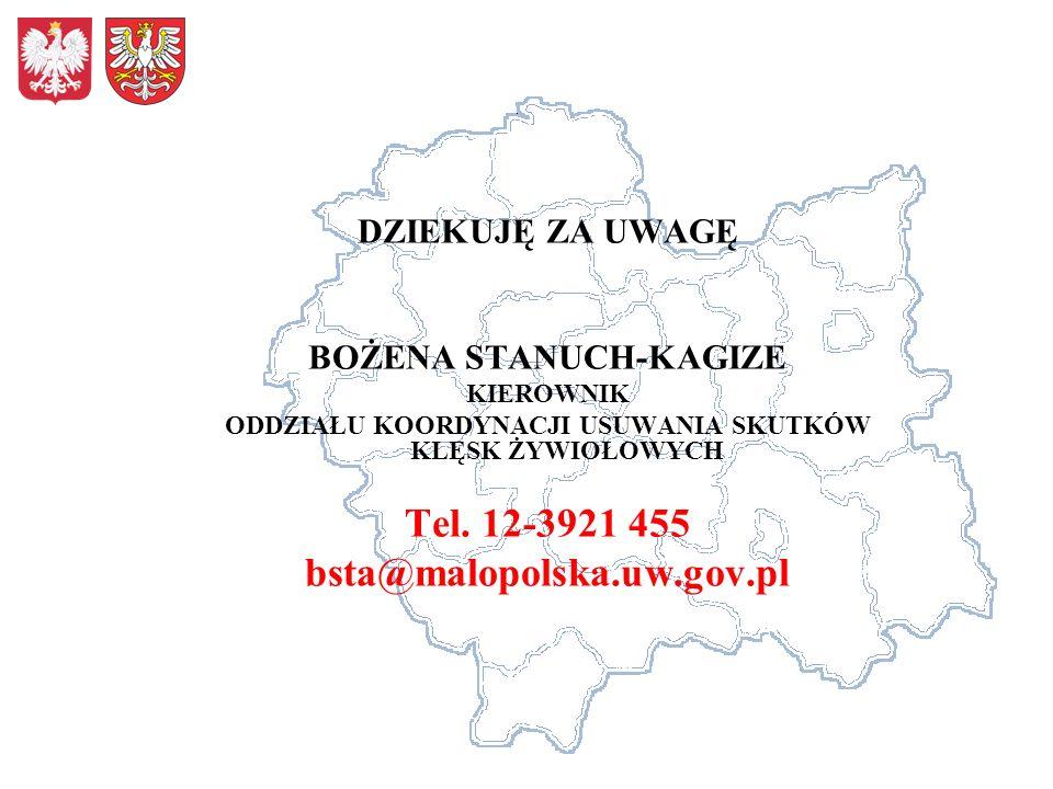 DZIEKUJĘ ZA UWAGĘ BOŻENA STANUCH-KAGIZE KIEROWNIK ODDZIAŁU KOORDYNACJI USUWANIA SKUTKÓW KLĘSK ŻYWIOŁOWYCH Tel. 12-3921 455 bsta@malopolska.uw.gov.pl