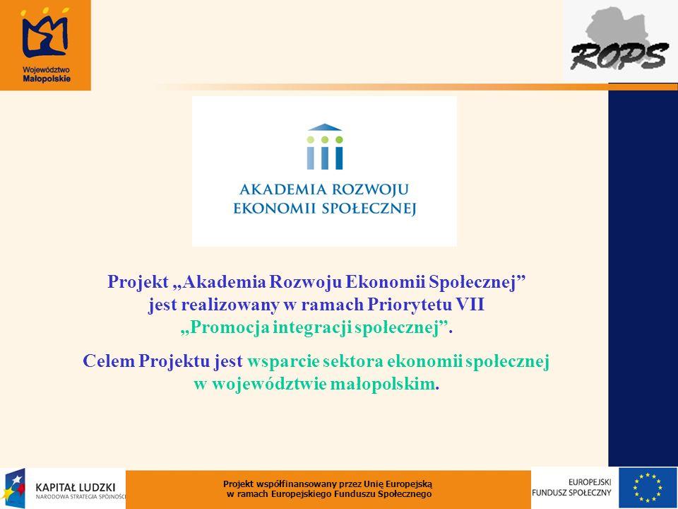 Projekt Akademia Rozwoju Ekonomii Społecznej jest realizowany w ramach Priorytetu VII Promocja integracji społecznej. Celem Projektu jest wsparcie sek