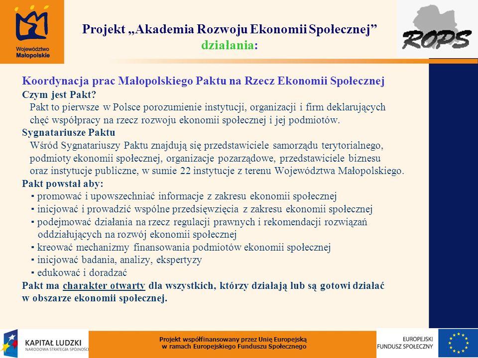 Projekt Akademia Rozwoju Ekonomii Społecznej działania: Koordynacja prac Małopolskiego Paktu na Rzecz Ekonomii Społecznej Czym jest Pakt? Pakt to pier