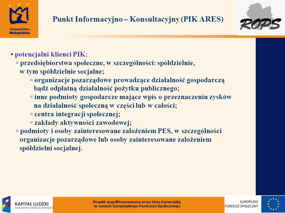 potencjalni klienci PIK: przedsiębiorstwa społeczne, w szczególności: spółdzielnie, w tym spółdzielnie socjalne; organizacje pozarządowe prowadzące dz