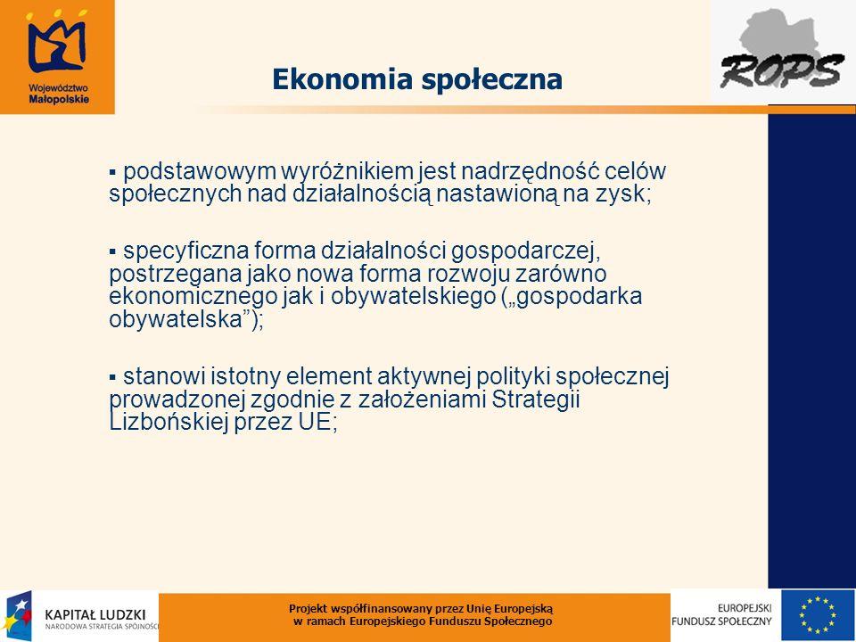 Projekt współfinansowany przez Unię Europejską w ramach Europejskiego Funduszu Społecznego podstawowym wyróżnikiem jest nadrzędność celów społecznych nad działalnością nastawioną na zysk; specyficzna forma działalności gospodarczej, postrzegana jako nowa forma rozwoju zarówno ekonomicznego jak i obywatelskiego (gospodarka obywatelska); stanowi istotny element aktywnej polityki społecznej prowadzonej zgodnie z założeniami Strategii Lizbońskiej przez UE; Ekonomia społeczna