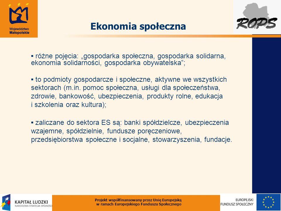 Projekt współfinansowany przez Unię Europejską w ramach Europejskiego Funduszu Społecznego Ekonomia społeczna różne pojęcia: gospodarka społeczna, gospodarka solidarna, ekonomia solidarności, gospodarka obywatelska; to podmioty gospodarcze i społeczne, aktywne we wszystkich sektorach (m.in.