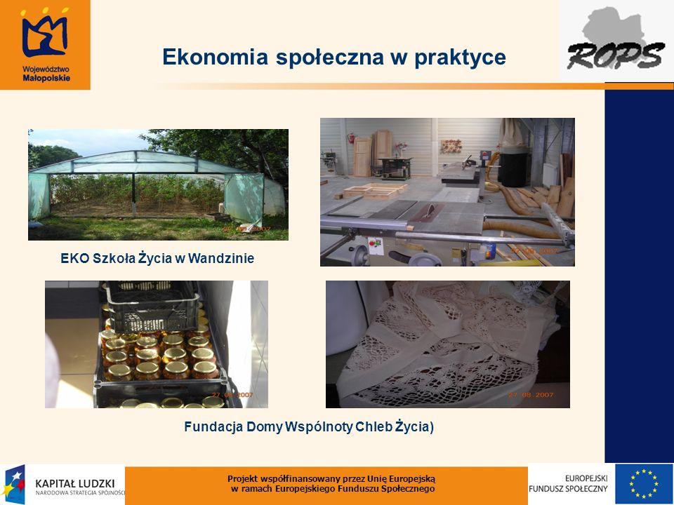 Projekt współfinansowany przez Unię Europejską w ramach Europejskiego Funduszu Społecznego Ekonomia społeczna w praktyce EKO Szkoła Życia w Wandzinie