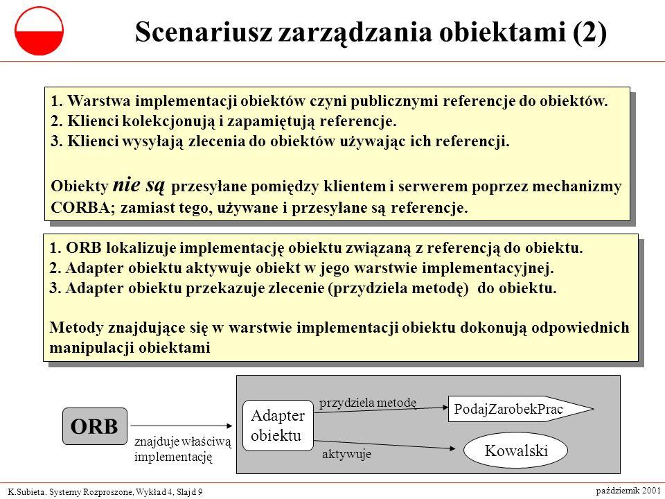 K.Subieta. Systemy Rozproszone, Wykład 4, Slajd 9 październik 2001 1.