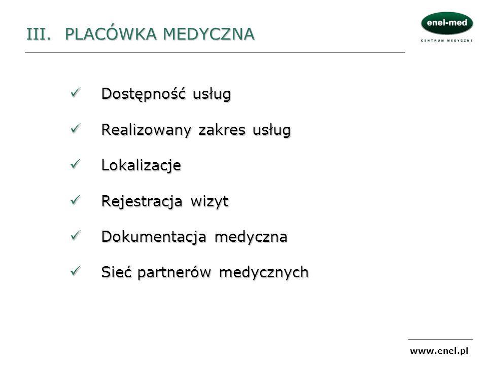 www.enel.pl III. PLACÓWKA MEDYCZNA Dostępność usług Dostępność usług Realizowany zakres usług Realizowany zakres usług Lokalizacje Lokalizacje Rejestr