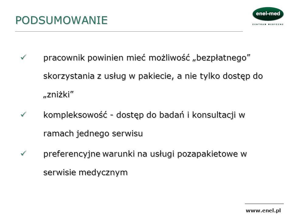 www.enel.pl PODSUMOWANIE pracownik powinien mieć możliwość bezpłatnego skorzystania z usług w pakiecie, a nie tylko dostęp do zniżki pracownik powinie
