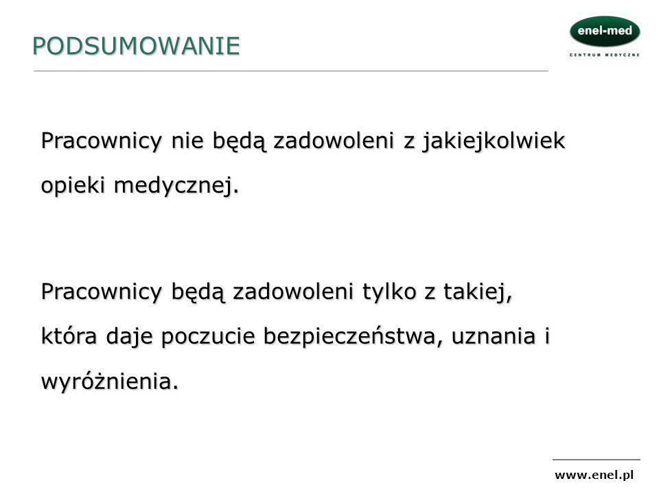 www.enel.pl PODSUMOWANIE Pracownicy nie będą zadowoleni z jakiejkolwiek opieki medycznej. Pracownicy będą zadowoleni tylko z takiej, która daje poczuc