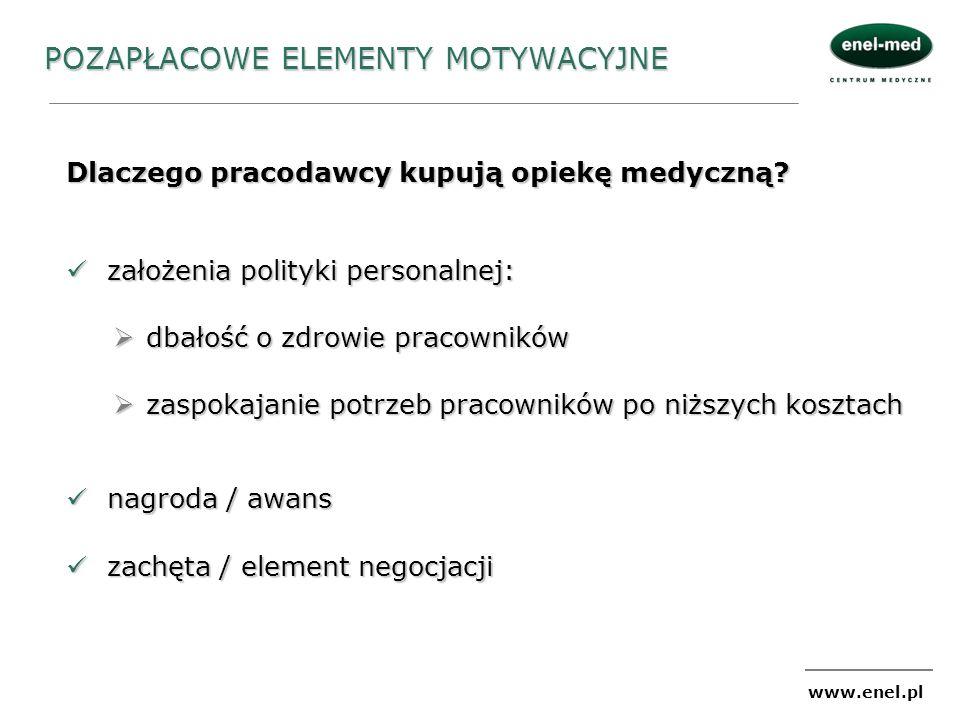 www.enel.pl POZAPŁACOWE ELEMENTY MOTYWACYJNE Dlaczego pracodawcy kupują opiekę medyczną? założenia polityki personalnej: założenia polityki personalne