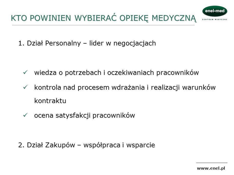 www.enel.pl KTO POWINIEN WYBIERAĆ OPIEKĘ MEDYCZNĄ 1. Dział Personalny – lider w negocjacjach wiedza o potrzebach i oczekiwaniach pracowników wiedza o