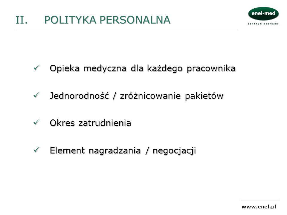 www.enel.pl Opieka medyczna dla każdego pracownika Opieka medyczna dla każdego pracownika Jednorodność / zróżnicowanie pakietów Jednorodność / zróżnic