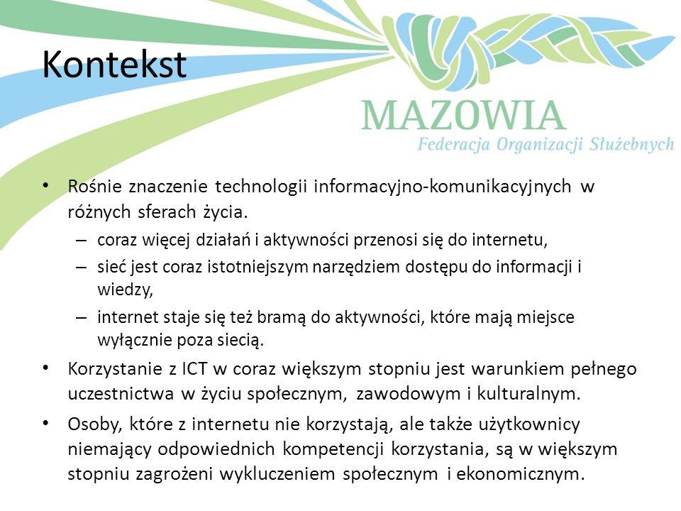 Kontekst Rośnie znaczenie technologii informacyjno-komunikacyjnych w różnych sferach życia. – coraz więcej działań i aktywności przenosi się do intern