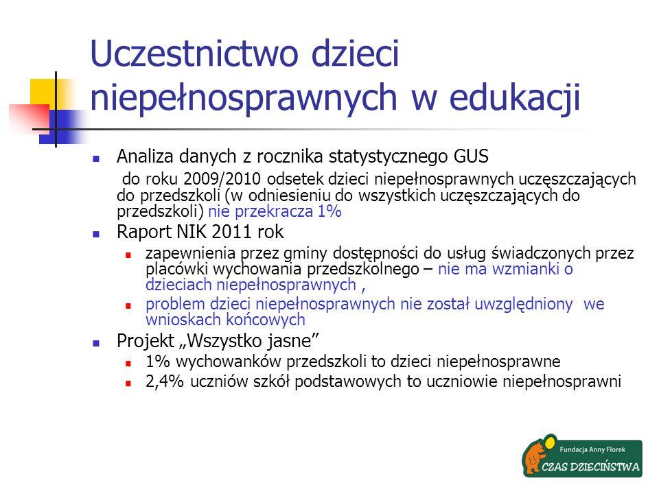 Uczestnictwo dzieci niepełnosprawnych w edukacji Analiza danych z rocznika statystycznego GUS do roku 2009/2010 odsetek dzieci niepełnosprawnych uczęs