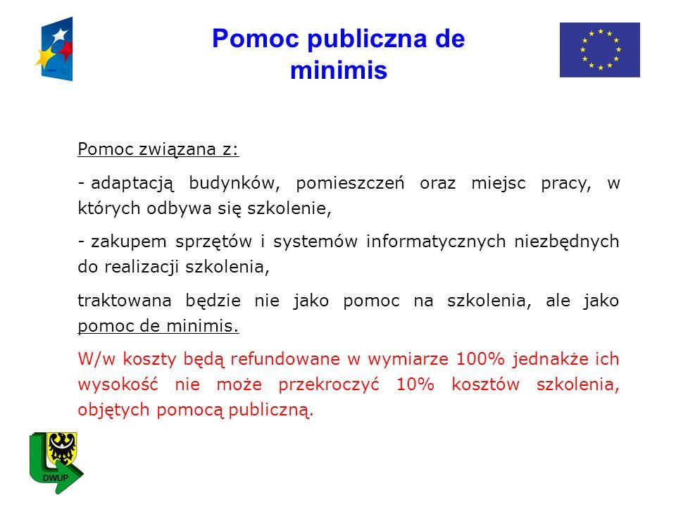 Pomoc publiczna de minimis Pomoc związana z: - adaptacją budynków, pomieszczeń oraz miejsc pracy, w których odbywa się szkolenie, - zakupem sprzętów i