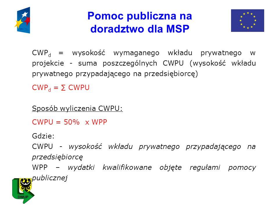Pomoc publiczna na doradztwo dla MSP CWP d = wysokość wymaganego wkładu prywatnego w projekcie - suma poszczególnych CWPU (wysokość wkładu prywatnego