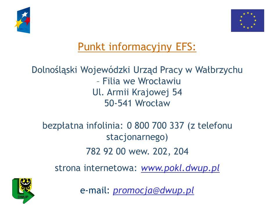 Punkt informacyjny EFS: Dolnośląski Wojewódzki Urząd Pracy w Wałbrzychu – Filia we Wrocławiu Ul. Armii Krajowej 54 50-541 Wrocław bezpłatna infolinia: