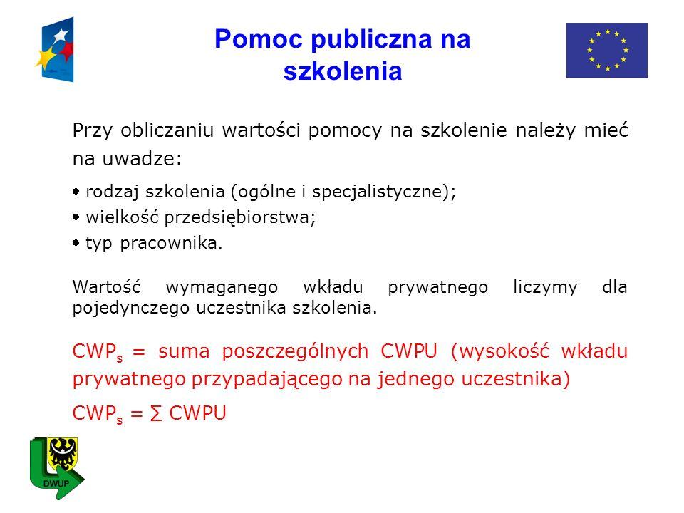 Pomoc publiczna na doradztwo dla MSP CWP d = wysokość wymaganego wkładu prywatnego w projekcie - suma poszczególnych CWPU (wysokość wkładu prywatnego przypadającego na przedsiębiorcę) CWP d = CWPU Sposób wyliczenia CWPU: CWPU = 50% x WPP Gdzie: CWPU - wysokość wkładu prywatnego przypadającego na przedsiębiorcę WPP – wydatki kwalifikowane objęte regułami pomocy publicznej