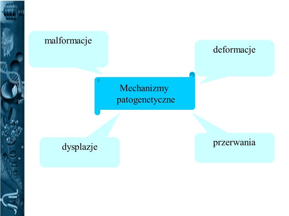 Mechanizmy patogenetyczne deformacje przerwania dysplazje malformacje