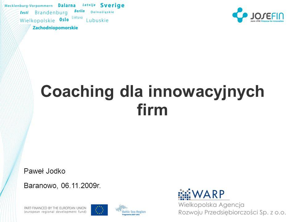 Coaching dla innowacyjnych firm Proces kompletnej obsługi klienta w WARP Pierwszy kontakt Nowa działalność gospodarcza Istniejąca działalność gospodar