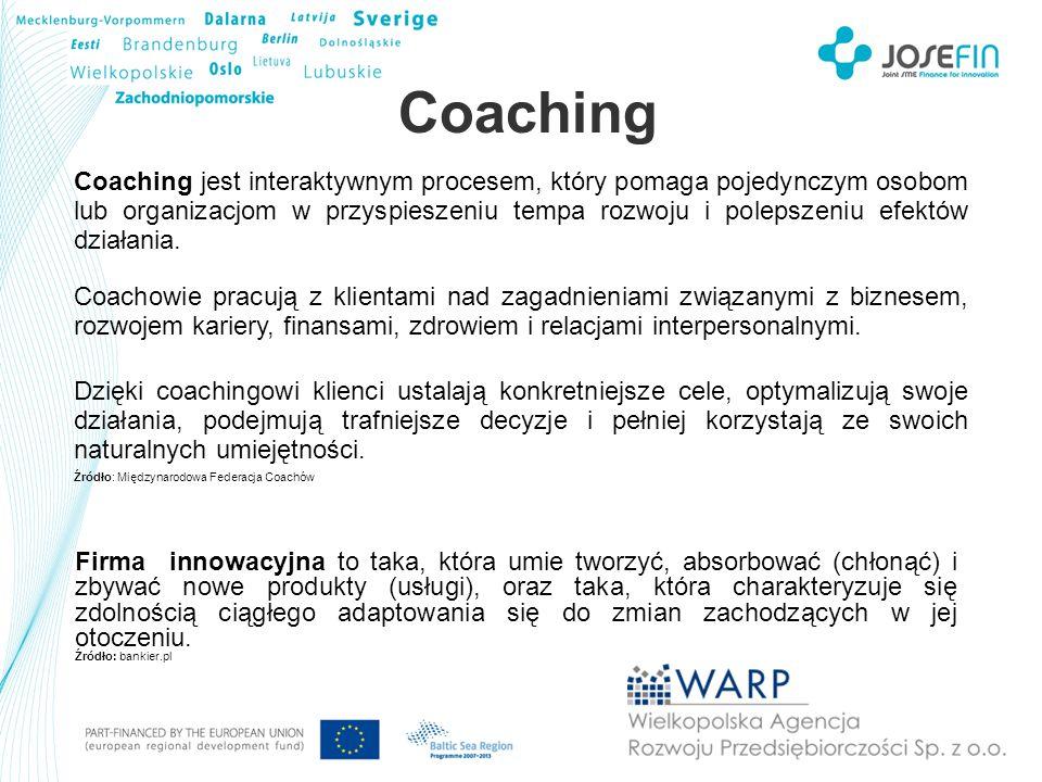 Coaching Coaching jest interaktywnym procesem, który pomaga pojedynczym osobom lub organizacjom w przyspieszeniu tempa rozwoju i polepszeniu efektów d