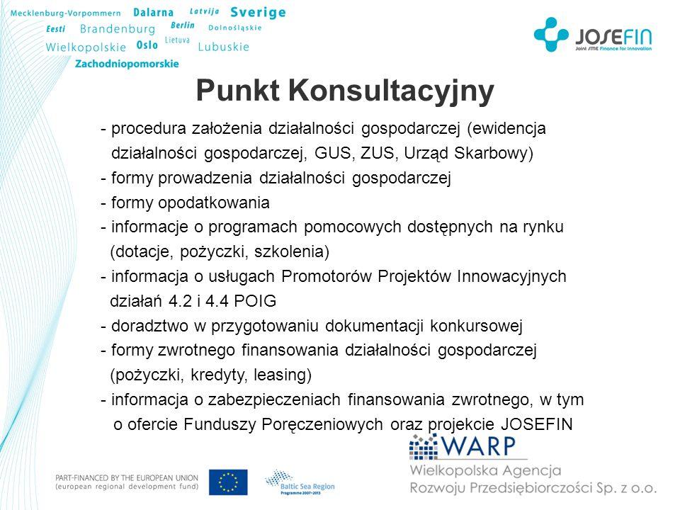 Fundusz Pożyczkowy - pomoc w przygotowaniu aplikacji pożyczkowej - informacja o wymaganych dokumentach i zabezpieczeniach w tym o ofercie Funduszy Poręczeniowych oraz projekcie JOSEFIN - analiza wniosków o pożyczkę i nadzór nad realizacją projektów Szkolenia - szkolenia dla przedsiębiorców (eksport, outplacement, źrodła finansowania działalności) - szkolenia dla pracowników firm (finansowo-księgowe, komunikacja, obsługa klienta, IT, językowe) - przygotowanie dedykowanych projektów szkoleniowych