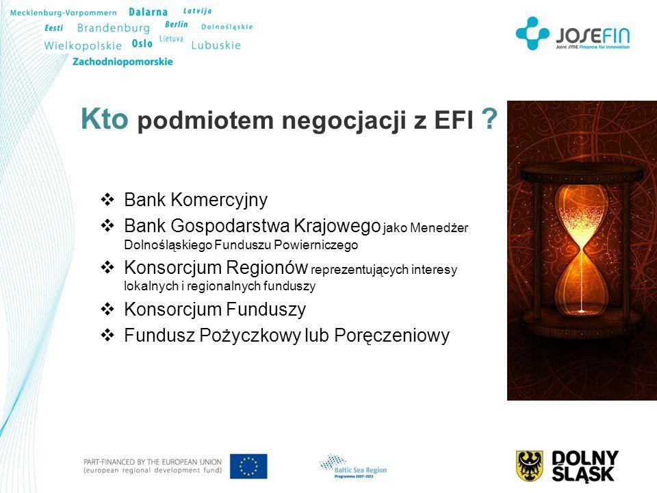 Kto podmiotem negocjacji z EFI ? Bank Komercyjny Bank Gospodarstwa Krajowego jako Menedżer Dolnośląskiego Funduszu Powierniczego Konsorcjum Regionów r