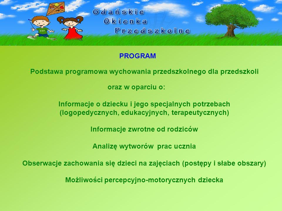 PROGRAM oraz w oparciu o: Informacje o dziecku i jego specjalnych potrzebach (logopedycznych, edukacyjnych, terapeutycznych) Informacje zwrotne od rod