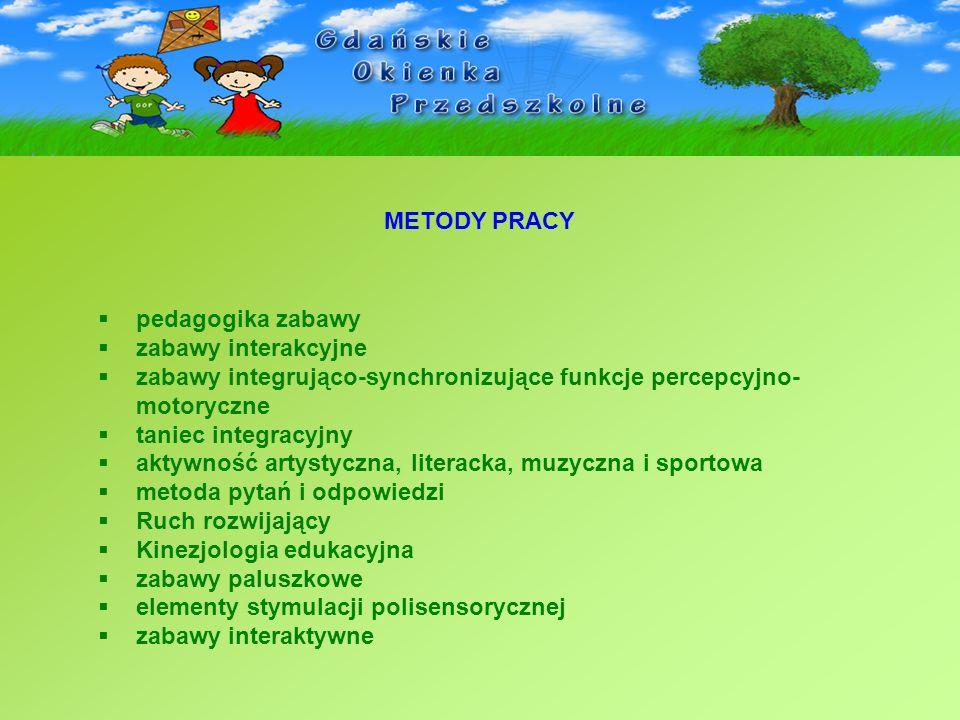 METODY PRACY pedagogika zabawy zabawy interakcyjne zabawy integrująco-synchronizujące funkcje percepcyjno- motoryczne taniec integracyjny aktywność ar