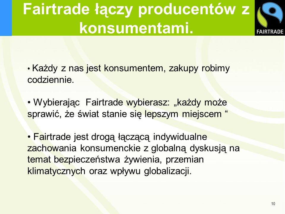 Fairtrade łączy producentów z konsumentami. Każdy z nas jest konsumentem, zakupy robimy codziennie. Wybierając Fairtrade wybierasz: każdy może sprawić