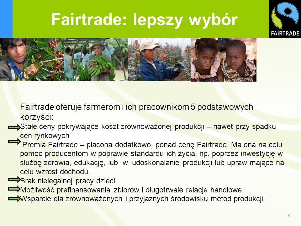 555 Główne cele Fairtrade BiznesPrawa SpołeczneŚrodowisko Doradztwo Stałe ceny Premia Fairtrade Długotrwale relacje handlowe Prefinansowanie Warunki Pracy Projekty społecznościowe Wolność zrzeszania się Brak dyskryminacji Brak nielegalnej pracy dzieci Lista Zakazanych Substancji (PML) Metody produkcji przyjazne środowisku Wsparcie dla organicznych metod produkcji Zakaz Żywności Modyfikowanej Genetycznie (GMO) Premia dla produktów organicznych