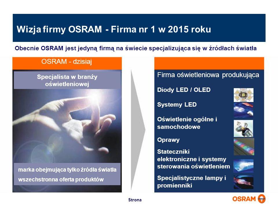 Wizja firmy OSRAM - Firma nr 1 w 2015 roku Obecnie OSRAM jest jedyną firmą na świecie specjalizująca się w źródłach światła OSRAM - dzisiaj Firma oświ