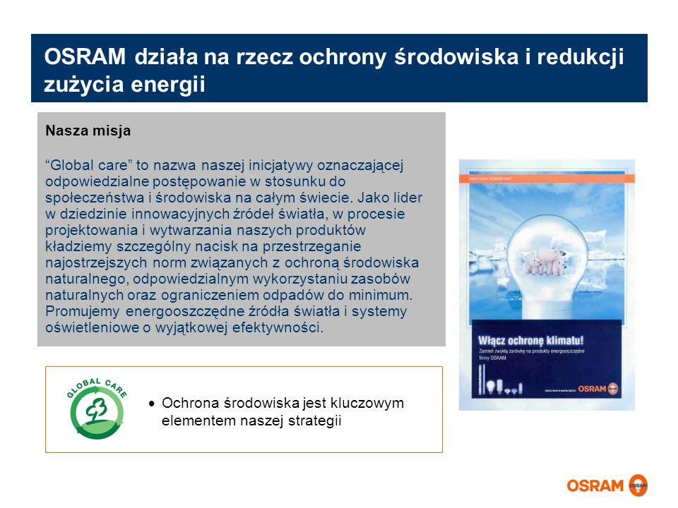 OSRAM działa na rzecz ochrony środowiska i redukcji zużycia energii Ochrona środowiska jest kluczowym elementem naszej strategii Nasza misja Global ca