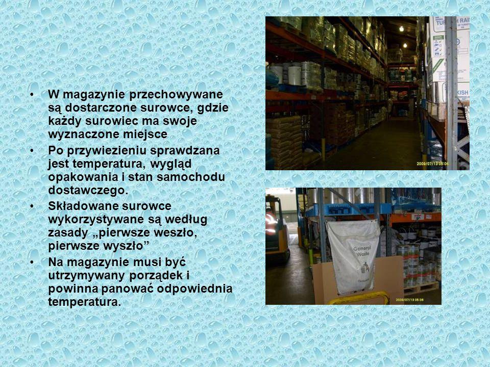 W magazynie przechowywane są dostarczone surowce, gdzie każdy surowiec ma swoje wyznaczone miejsce Po przywiezieniu sprawdzana jest temperatura, wyglą