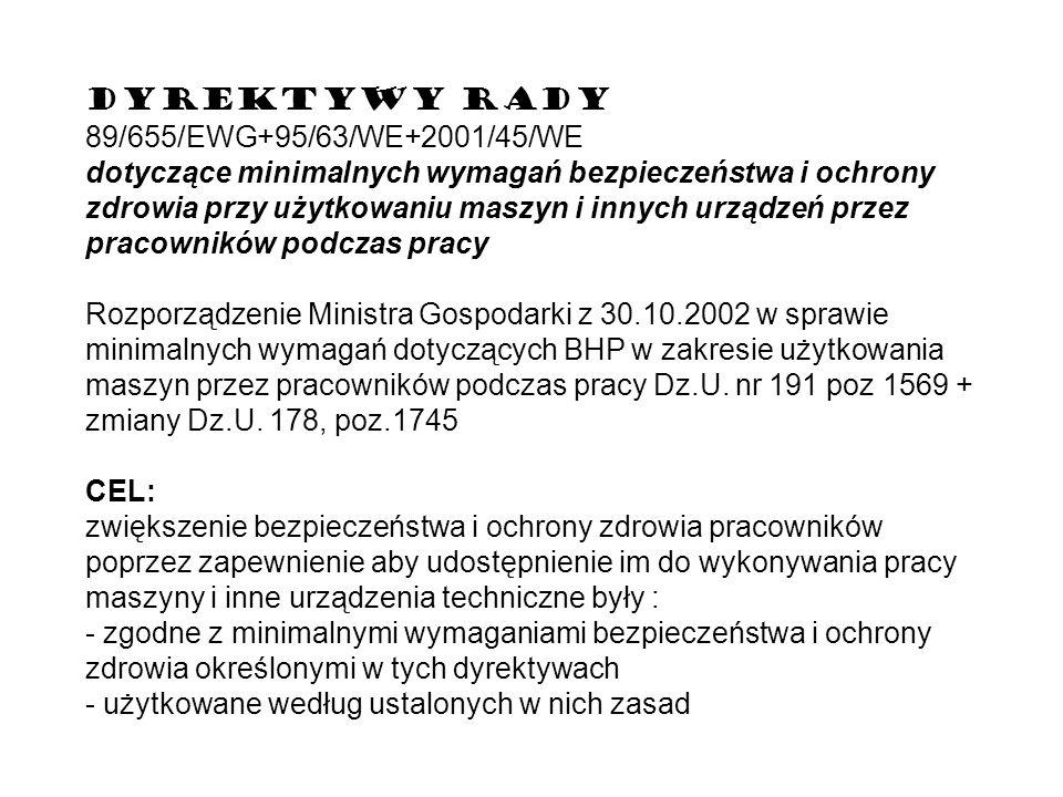 DYREKTYWY RADY 89/655/EWG+95/63/WE+2001/45/WE dotyczące minimalnych wymagań bezpieczeństwa i ochrony zdrowia przy użytkowaniu maszyn i innych urządzeń