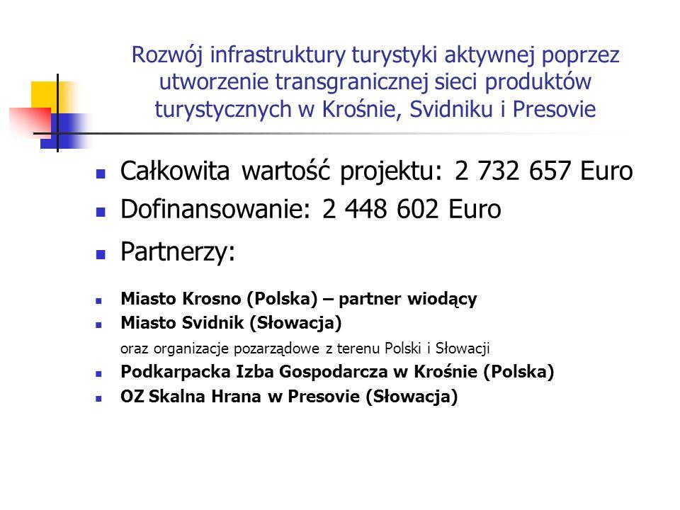 Całkowita wartość projektu: 2 732 657 Euro Dofinansowanie: 2 448 602 Euro Partnerzy: Miasto Krosno (Polska) – partner wiodący Miasto Svidnik (Słowacja) oraz organizacje pozarządowe z terenu Polski i Słowacji Podkarpacka Izba Gospodarcza w Krośnie (Polska) OZ Skalna Hrana w Presovie (Słowacja)