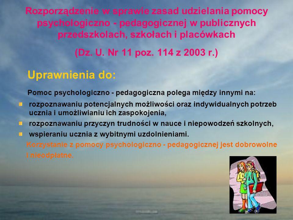 Rozporządzenie w sprawie zasad udzielania pomocy psychologiczno - pedagogicznej w publicznych przedszkolach, szkołach i placówkach (Dz. U. Nr 11 poz.