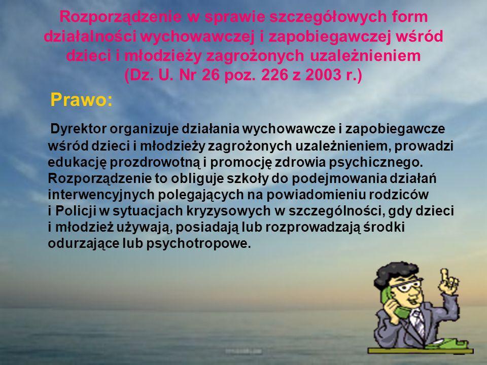 Rozporządzenie w sprawie szczegółowych form działalności wychowawczej i zapobiegawczej wśród dzieci i młodzieży zagrożonych uzależnieniem (Dz. U. Nr 2