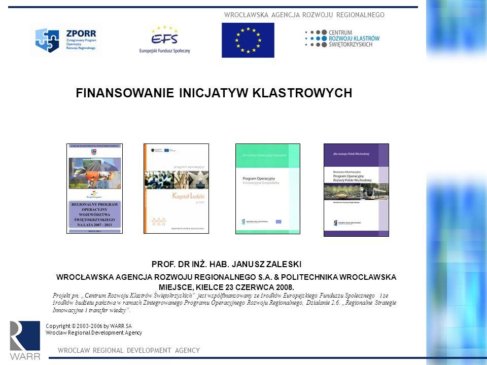 WROCŁAWSKA AGENCJA ROZWOJU REGIONALNEGO WROCLAW REGIONAL DEVELOPMENT AGENCY SPO KL 2007- 2013 FINANSOWANIE SPO KL 2007- 2013 85% ze środków Unii Europejskiej (Europejski Fundusz Społeczny) 15% ze środków krajowych 11,5 mld euro – całość kwoty przewidziana na realizację Programu (w tym wkład finansowy Europejskiego Funduszu Społecznego to ponad 9,7 mld euro)
