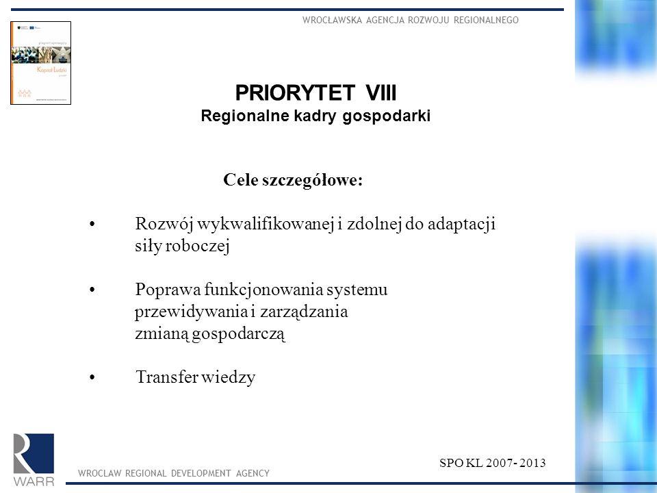 WROCŁAWSKA AGENCJA ROZWOJU REGIONALNEGO WROCLAW REGIONAL DEVELOPMENT AGENCY SPO KL 2007- 2013 PRIORYTET VIII Regionalne kadry gospodarki Cele szczegół