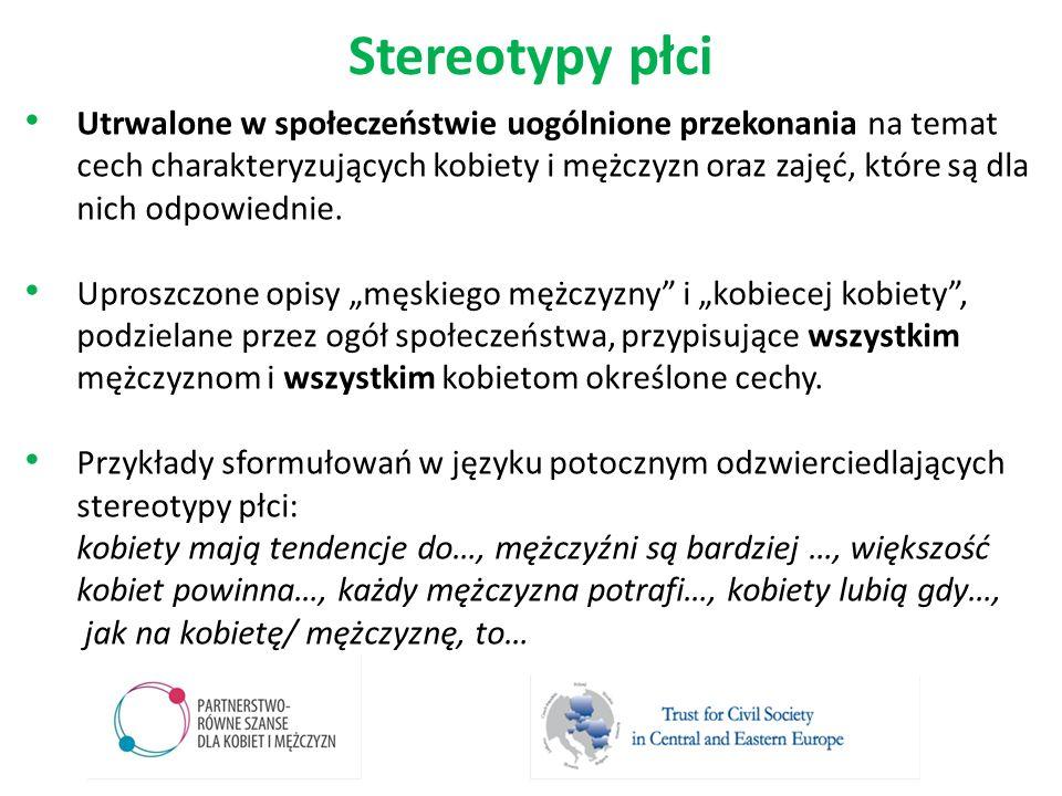 Stereotypy płci Utrwalone w społeczeństwie uogólnione przekonania na temat cech charakteryzujących kobiety i mężczyzn oraz zajęć, które są dla nich od