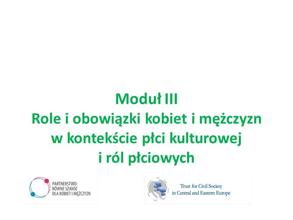 Moduł III Role i obowiązki kobiet i mężczyzn w kontekście płci kulturowej i ról płciowych
