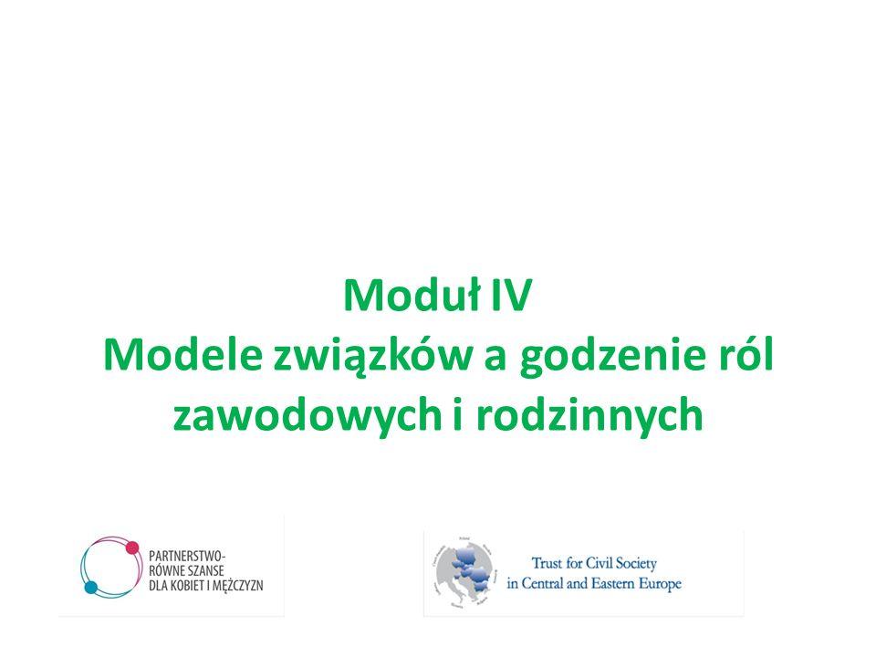 Moduł IV Modele związków a godzenie ról zawodowych i rodzinnych