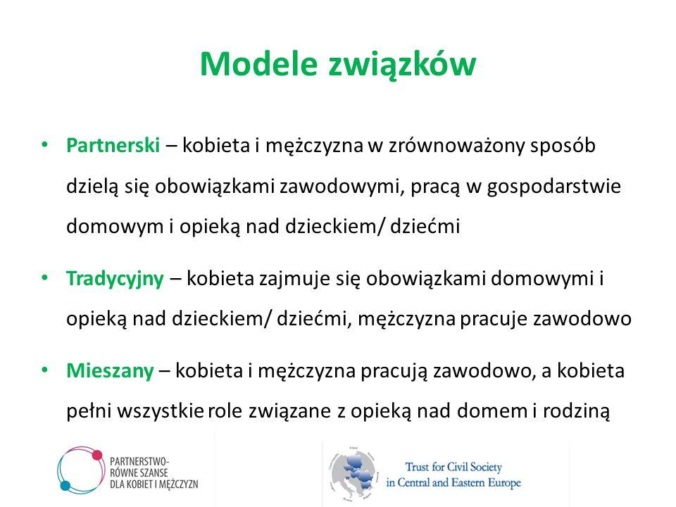 Modele związków Partnerski – kobieta i mężczyzna w zrównoważony sposób dzielą się obowiązkami zawodowymi, pracą w gospodarstwie domowym i opieką nad d