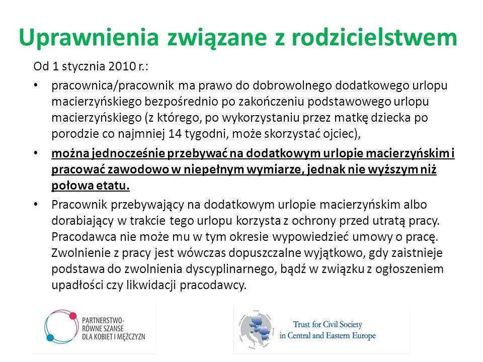 Uprawnienia związane z rodzicielstwem Od 1 stycznia 2010 r.: pracownica/pracownik ma prawo do dobrowolnego dodatkowego urlopu macierzyńskiego bezpośre