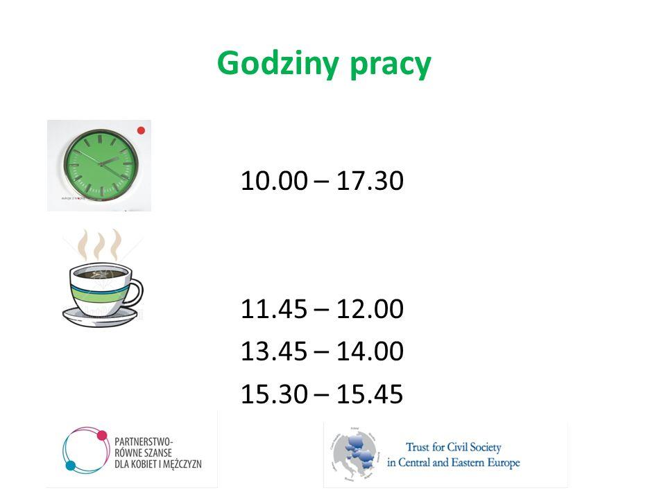 Godziny pracy 10.00 – 17.30 11.45 – 12.00 13.45 – 14.00 15.30 – 15.45