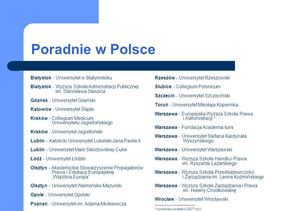 Poradnie w Polsce Białystok - Uniwersytet w Białymstoku Białystok - Wyższa Szkoła Administracji Publicznej im. Stanisława Staszica Gdańsk - Uniwersyte
